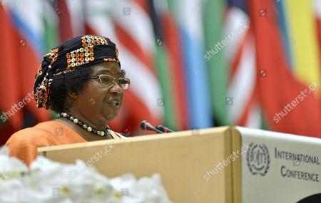 Malawi's President Joyce Banda Delivers Her Statement During the 102nd International Labor Conference (ilo) at the European Headquarters of the United Nations in Geneva Switzerland 12 June 2013 Switzerland Schweiz Suisse Geneva Geneve Ginevra Genf