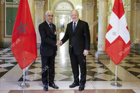 Stock Photo of President of the Swiss Confederation Johann Schneider-ammann (r) and Rachid Talbi El Alami (l) Marocco's President of the Parliament Shake Hands During a Visit in Bern Switzerland 02 March 2016 Switzerland Schweiz Suisse Bern