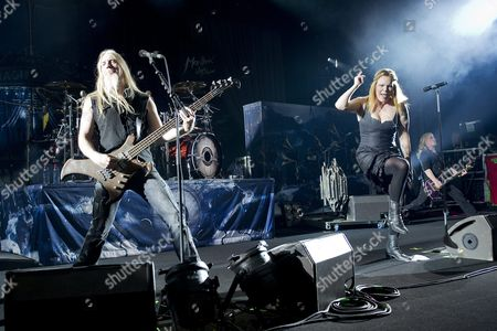 Stock Image of Singer Anette Olzon Right and Bassist Marko Hietala Left of Finnish Band Nightwish Perform at the Stravinski Hall During the 46th Montreux Jazz Festival in Montreux Switzerland 12 July 2012 Switzerland Schweiz Suisse Montreux