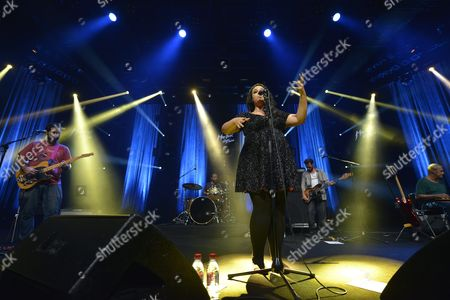 Stock Picture of Brazilian Singer Tulipa Ruiz (c) Performs on the Stravinski Hall Stage During the 47th Montreux Jazz Festival in Montreux Switzerland 12 July 2013 the Music Festival Runs From 05 to 20 July Switzerland Schweiz Suisse Montreux