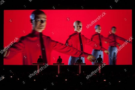 From (l-r) Ralf Huetter Henning Schmitz Fritz Hilpert and Falk Grieffenhagen of the German Electronic Music Band Kraftwerk Perform on Stage During a 3d Concert at the Auditorium Stravinski Hall Stage During the 47th Montreux Jazz Festival in Montreux Switzerland 17 July 2013 Switzerland Schweiz Suisse Montreux