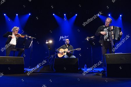French Violinist Didier Loockwood (l) French Guitarist Bireli Lagrene (c) and French Accordionist Richard Galliano (r) Perform on the Auditorium Stravinski Stage at the 48th Montreux Jazz Festival in Montreux Switzerland 18 July 2014 the Festival Runs Until 19 July Switzerland Schweiz Suisse Montreux