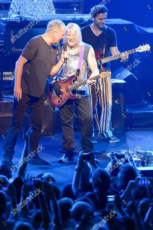 British Musicians Ian Gillan (l) and Steve Morse (c) of the Rock Band Deep Purple Accompanied by Us Musician Dweezil Zappa (r) Perform on the Auditorium Stravinski Stage During the 50th Montreux Jazz Festival in Montreux Switzerland 16 July 2016 Switzerland Schweiz Suisse Montreux