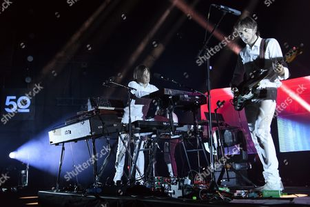 French Musicians Jean-benoit Dunckel (l) and Nicolas Godin (r) of the Musical Duo Air Perform at the Stravinski Hall Stage During the 50th Montreux Jazz Festival in Montreux Switzerland 01 July 2016 Switzerland Schweiz Suisse Montreux