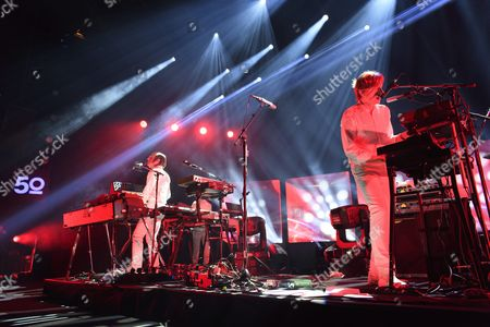 French Musicians Jean-benoit Dunckel Left and Nicolas Godin Right of the Musical Duo Air Perform on Stravinski Hall Stage During the 50th Montreux Jazz Festival in Montreux Switzerland 01 July 2016 Switzerland Schweiz Suisse Montreux