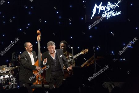 From (l-r) Hassan Shakur Jamaican Jazz Pianist Monty Alexander and Leon Duncan Perform on Stage at the Casino Barriere Montreux During the Official Opening Night of 50th Montreux Jazz Festival in Montreux Switzerland 30 June 2016 Switzerland Schweiz Suisse Montreux