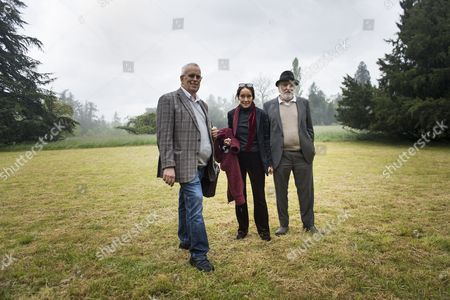Stock Image of (r-l) Michael Chaplin Victoria Chaplin and Eugene Chaplin Children of Late British Actor and Director Charlie Chaplin Pose Prior to a Press Conference Outside of Manoir De Ban Manor in Corsier-sur-vevey Switzerland 07 May 2014 Chaplin Informed About the Chaplin's World Museum Dedicated to the Life and Work of Charlie Chaplin That Will Open in Spring 2016 Switzerland Schweiz Suisse Corsier-sur-vevey