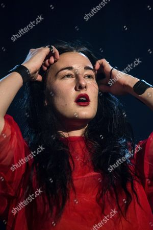 Stock Picture of American Singer Songwriter Zola Jesus Performs During Her Concert at the Blue Balls Festival in Lucerne Switzerland 25 July 2016 the Music Event Runs From 22 to 30 July Switzerland Schweiz Suisse Lucerne
