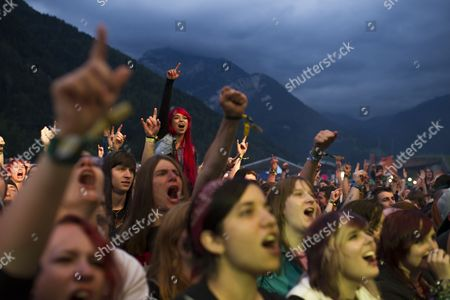 Fans Watch the Performance of German Band Jennifer Rostock During the Greenfield Openair in Interlaken Switzerland 14 June 2014 the Music Festival Runs From 12 to 14 June Switzerland Schweiz Suisse Interlaken