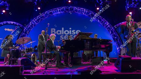 Stock Photo of Jamaican Born Musician Monty Alexander (c) and His Band Perform on Stage During a Concert at the Baloise Session in Basel Switzerland 11 November 2014 Switzerland Schweiz Suisse Basel
