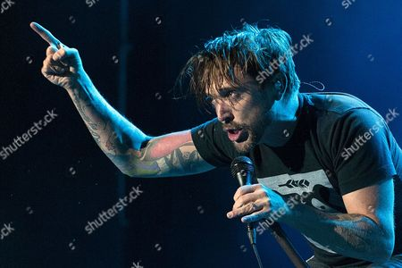 Canadian Vocalist Benjamin Kowalewicz of the Band 'Billy Talent' Performs on the Main Stage at the Rock Oz'arenes Festival in Avenches Switzerland 13 August 2014 Switzerland Schweiz Suisse Avenches