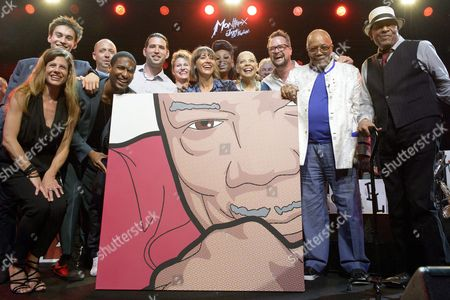 Stock Picture of (l-r) Singer Brigitte Wullimann British Musician Jacob Collier Sunny Levine Quincys Grandson Us Pianist Jon Batiste Cuban Pianist Alfredo Rodriguez Singer Stefanie Suhrer Rashida Jones Quincys Daughter Singer Dorothea Lorene Us Singer Patti Austin Swiss Bandleader Pepe Lienhard Mathieu Jaton Montreux Jazz Festival Director Us Music Producer Quincy Jones and Us Singer Al Jarreau Pose For a Picture on the Stage of the Auditorium Stravinski During a Show Organized by U S Music Producer Quincy Jones at the 50th Montreux Jazz Festival in Montreux Switzerland 08 July 2016 the Music Festival Runs From 01 to 16 July Epa/anthony Anex Editorial Use Only Switzerland Schweiz Suisse Montreux