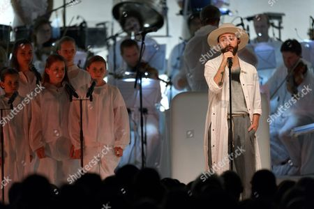 French Lead Vocalist Yoann Lemoine (r) of the Group Woodkid Performs on Stage at the Auditorium Stravinski During the 50th Montreux Jazz Festival in Montreux Switzerland 15 July 2016 the Music Festival Runs From 01 to 16 July Switzerland Schweiz Suisse Montreux