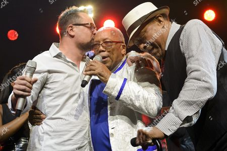 Mathieu Jaton Montreux Jazz Festival Director Us Music Producer Quincy Jones and Us Singer Al Jarreau From Left to Right Perform on the Stage of the Auditorium Stravinski During a Show Organized by U S Music Producer Quincy Jones at the 50th Montreux Jazz Festival in Montreux Switzerland 08 July 2016 the Music Festival Runs From 01 to 16 July Switzerland Schweiz Suisse Montreux