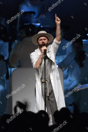 Stock Image of French Lead Vocalist Yoann Lemoine of the Group Woodkid Performs on Stage at the Auditorium Stravinski During the 50th Montreux Jazz Festival in Montreux Switzerland 15 July 2016 the Music Festival Runs From 01 to 16 July Switzerland Schweiz Suisse Montreux