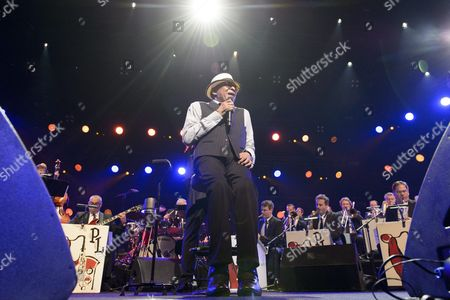 Stock Image of Us Singer Al Jarreau Performs on the Stage of the Auditorium Stravinski During a Show Organized by U S Music Producer Quincy Jones at the 50th Montreux Jazz Festival in Montreux Switzerland 08 July 2016 the Music Festival Runs From 01 to 16 July Switzerland Schweiz Suisse Montreux