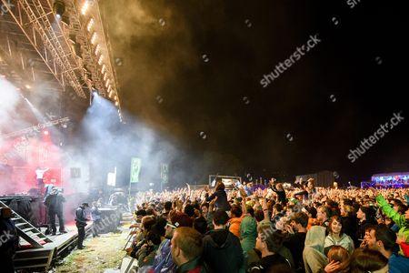 Festivalgoers Cheer As the Austrian Band 'Parov Stelar' Performs at the Music Festival Open Air Gampel in Gampel Switzerland 20 August 2016 (issued 21 August) the Annual Festival Runs From 18 to 21 August Switzerland Schweiz Suisse Gampel