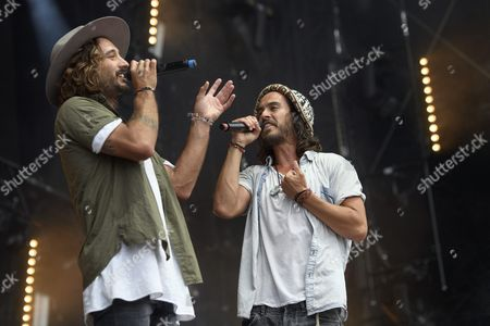 Stock Picture of Jeremy Frerot (l) and Florian Delavega (r) of French Musical Duo Frero Delavega Perform on the Main Stage During the 41st Paleo Festival Nyon in Nyon Switzerland 23 July 2016 the Open-air Music Festival the Largest in the Western Part of Switzerland Runs From 19 to 24 July Switzerland Schweiz Suisse Nyon
