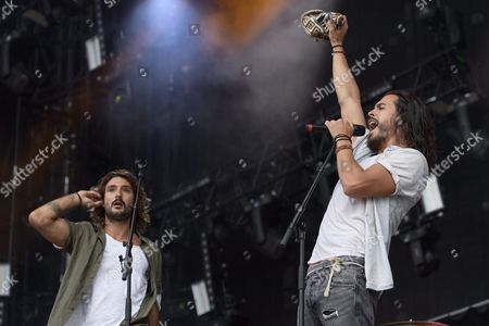 Jeremy Frerot (l) and Florian Delavega (r) of French Musical Duo Frero Delavega Perform on the Main Stage During the 41st Paleo Festival Nyon in Nyon Switzerland 23 July 2016 the Open-air Music Festival the Largest in the Western Part of Switzerland Runs From 19 to 24 July Switzerland Schweiz Suisse Nyon
