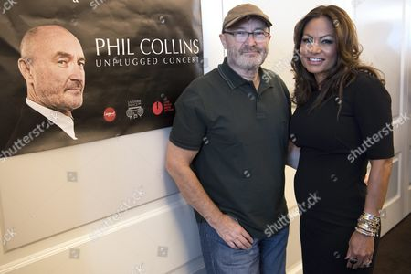 English Musician Phil Collins (l) Poses with His Wife Orianne Collins Pose For a Picture After a Press Conference in Lausanne Switzerland 30 May 2016 British Pop Star and Former Singer of Genesis Group Phil Collins Will Perform a Concert on 03 June in Lausanne For the Little Dreams Foundation the Charity Foundation of His New Girlfriend's and Also Ex-wife Orianne Cevey-collins Switzerland Schweiz Suisse Lausanne