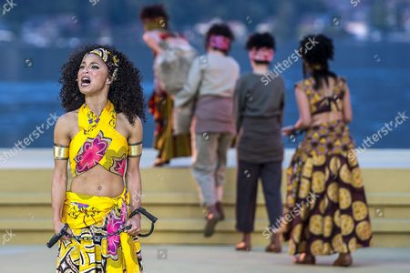 A Picture Made Available on 08 July 2014 Shows German Singer Patricia Meeden As Aida Performing on the Lake Stage During the Dress Rehearsal of 'Aida - the Musical' in Thun Switzerland 27 June 2014 the Production with Music by Elton John and Lyrics by Tim Rice Will Have Its Premiere As Part of the 'Thunerseespiele' (lake Thun) Open-air Event on 08 July Switzerland Schweiz Suisse Thun