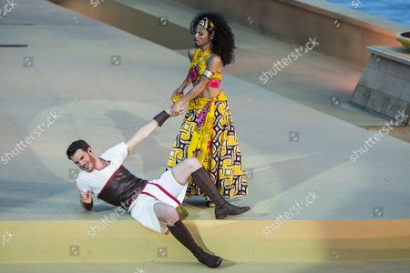 A Picture Made Available on 08 July 2014 Shows German Singers Patricia Meeden (r) As Aida and Joern-felix Alt (l) As Radames Performing on the Lake Stage During the Dress Rehearsal of 'Aida - the Musical' in Thun Switzerland 27 June 2014 the Production with Music by Elton John and Lyrics by Tim Rice Will Have Its Premiere As Part of the 'Thunerseespiele' (lake Thun) Open-air Event on 08 July Switzerland Schweiz Suisse Thun
