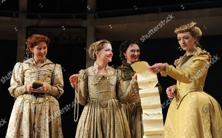 Stock Image of 'Love's Labour's Lost' - Sally Scott (Katherine), Nelly Harker (Maria), Susie Trayling (Rosaline) and Rachel Pickup (Princess of France)