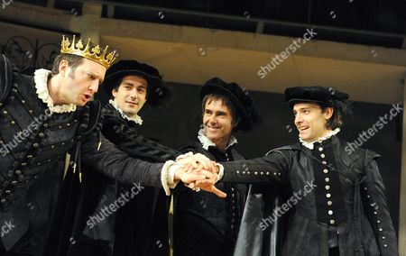 Stock Photo of 'Love's Labour's Lost' - Dan Fredenburgh (King of Navarre), Nicholas Bishop (Longaville), Finbar Lynch (Berowne) and Nick Barber ( Dumaine )