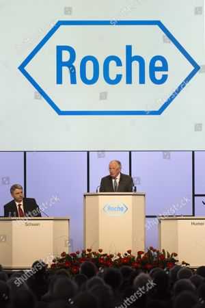Franz B Humer Chairman of the Board of Roche (r) and Ceo Severin Schwan (l) Attend the General Assembly of Swiss Pharmaceutical Company Roche Holding Ag in Basel Switzerland on 05 March 2013 Franz Humer Announced That He Won't Be Standing For Re-election in 2014 Switzerland Schweiz Suisse Basel