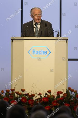 Franz B Humer Chairman of the Board of Roche Speaks During the General Assembly of Swiss Pharmaceutical Company Roche Holding Ag in Basel Switzerland on 05 March 2013 Franz Humer Announced That He Won't Be Standing For Re-election in 2014 Switzerland Schweiz Suisse Basel