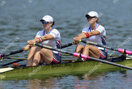 Megan Kalmoe (r) and Adrienne Martelli (l) of the Usa in Action During the Women's Double Sculls Final at the Rowing World Cup on Lake Rotsee in Lucerne Switzerland 14 July 2013 Switzerland Schweiz Suisse Lucerne