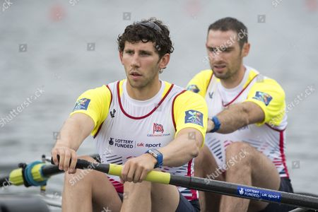Stock Image of Matthew Tarrant (l) and Nathaniel Reilly-o Donnell From Britain in Action at the Men's Pair Final Race at the Rowing World Cup on Lake Rotsee in Lucerne Switzerland 29 May 2016 Switzerland Schweiz Suisse Lucerne