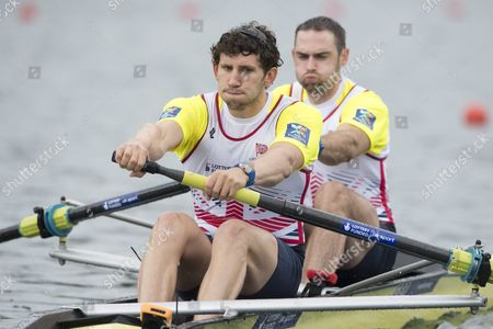 Matthew Tarrant (l) and Nathaniel Reilly-o Donnell From Great Britain at the Men's Pair Final Race at the Rowing World Cup on Lake Rotsee in Lucerne Switzerland 29 May 2016 Switzerland Schweiz Suisse Lucerne