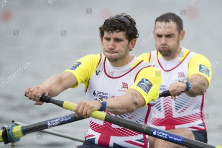 Matthew Tarrant (l) and Nathaniel Reilly-o Donnell From Britain in Action at the Men's Pair Final Race at the Rowing World Cup on Lake Rotsee in Lucerne Switzerland 29 May 2016 Switzerland Schweiz Suisse Lucerne