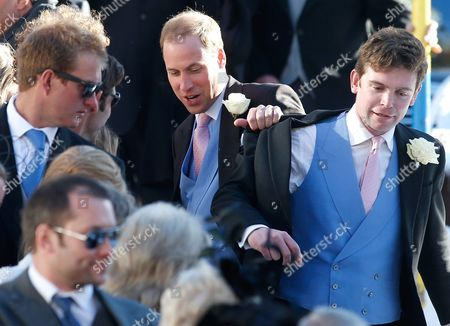 British Prince William (2-r) Shares a Laugh with Other Guests As They Leave the Evangelical Church in Arosa Switzerland 02 March 2013 Prince William His Wife and Prince Harry Attend the Wedding of Their Friends Swiss-british Dressage Rider Laura Bechtolsheimer and Poloplayer Mark Tomlinson Switzerland Schweiz Suisse Arosa