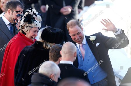 British Prince William (r) Shares a Laugh with Other Guests As They Leave the Evangelical Church in Arosa Switzerland 02 March 2013 Prince William His Wife and Prince Harry Attend the Wedding of Their Friends Swiss-british Dressage Rider Laura Bechtolsheimer and Poloplayer Mark Tomlinson Switzerland Schweiz Suisse Arosa