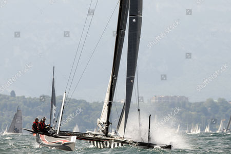 Alinghi Sui 1 D35 Category Skipped by Swiss Skipper Ernesto Bertarelli Sails at the 'Bol D' Or' a Sailboat Race on the Geneva Lake in Geneva Switzerland 14 June 2014 About 518 Boats Participate in This Weekend's Bol D'or the Societe Nautique De Geneve Sng Organizes One of the Worlds Biggest Regattas and the Largest Sailing Event Held on a Lake in Europe Switzerland Schweiz Suisse Geneva