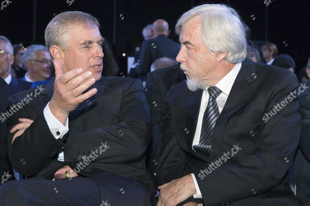 Stock Photo of Britain's Prince Andrew Duke of York (l) Speaks with Cern's Director-general Rolf Heuer of Germany During the Official Cern's 60th Anniversary Ceremony in Geneva Switzerland 29 September 2014 Cern the European Organization For Nuclear Research was Established in 1954 Switzerland Schweiz Suisse Geneva