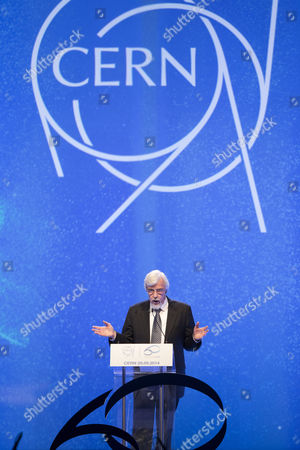 Stock Image of Cern's Director-general Rolf Heuer From Germany Speaks During the Official Cern's 60th Anniversary Ceremony in Geneva Switzerland 29 September 2014 Cern the European Organization For Nuclear Research was Established in 1954 Switzerland Schweiz Suisse Geneva
