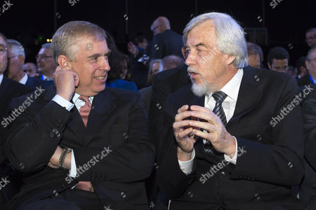 Britain's Prince Andrew Duke of York (l) Speaks with Cern's Director-general Rolf Heuer of Germany During the Official Cern's 60th Anniversary Ceremony in Geneva Switzerland 29 September 2014 Cern the European Organization For Nuclear Research was Established in 1954 Switzerland Schweiz Suisse Geneva