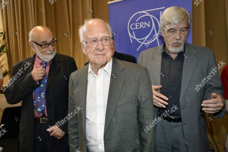 Belgium Physicist Francois Englert (l) Rolf Heuer (r) Director General of Cern (european Organization For Nuclear Research) and British Physicist Peter Higgs (c) Leave After the Answers Journalist's Question About the Scientific Seminar to Deliver the Latest Update in the Search For the Higgs Boson at the European Organization For Nuclear Research (cern) in Meyrin Near Geneva Switzerland 04 July 2012 Scientists Report 04 July 2012 They Have Discovered a New Type of Particle Consistent with the Long-sought Higgs Boson Which Would Explain why There is Mass in the Universe the Cern Laboratory Announced in Geneva However the Experiment's Spokesperson Joe Icandela Stressed That the Results Were Preliminary 'The Implications Are Very Significant and It is Precisely For This Reason That We Must Be Extremely Diligent in All of Our Studies and Cross-checks ' British Scientist Peter Higgs and Others Developed a Theory Explaining why Matter Exists by Introducing the Higgs Boson As a Key Part of the Mechanism That Allows Particles to Gain Mass Switzerland Schweiz Suisse Meyrin