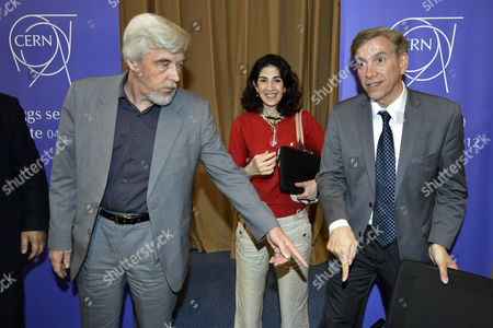 Rolf Heuer (r) Director General of Cern (european Organization For Nuclear Research) Fabiola Gianotti (c) Atlas Experiment Spokesperson and Joe Incandela (r) Cms Experiment Spokesperson Arrive to Answer Journalists' Question About the Scientific Seminar to Deliver the Latest Update in the Search For the Higgs Boson at the European Organization For Nuclear Research (cern) in Meyrin Near Geneva Switzerland 04 July 2012 Switzerland Schweiz Suisse Geneva