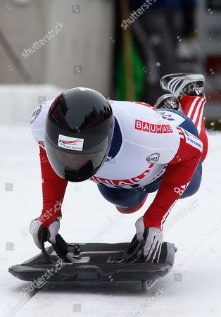 British Athlete Kristan Bromley in Action at the Start of His First Run During the Men's Skeleton World Championship in St Moritz Switzerland 01 February 2013 Switzerland Schweiz Suisse St. Moritz