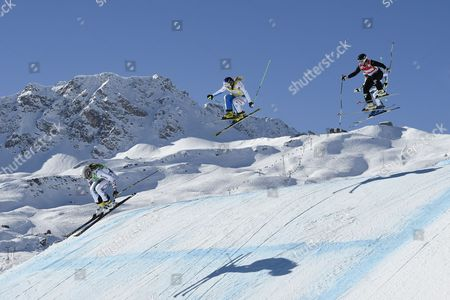 Ophelie David of France (5th) Andrea Limbacher of Austria (8th) Marte Hoeie Gjefsen of Norway (6th) and Alizee Baron of France (7th) From Left Speed Down the Track During the Final Race of the Women's Ski Cross World Cup in Arosa Switzerland on Saturday February 7 2015 Switzerland Schweiz Suisse Arosa