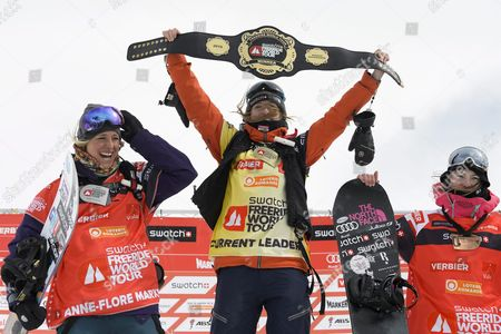 (l-r) Snowboarders Anne-flore Marxer From Switzerland Second Place Estelle Balet From Switzerland First Place and Marion Haerty From France During the Podium Ceremony of World Championship After the 'Xtreme De Verbier' the Last Stage of the Freeride World Tour Fwt Contest on the 'Bec Des Rosses' Mountain on 3222 Meters in Verbier Switzerland 02 April 2016 Switzerland Schweiz Suisse Verbier