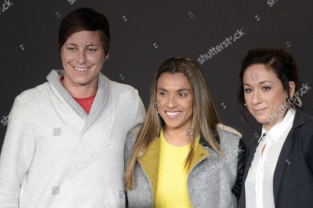 (l-r)abby Wambach of the Usa Brazil's Marta and Germany's Nadine Kessler Nominees of the Fifa Women's World Player of the Year Award Attend a Press Conference Prior to the Fifa Ballon D'or Awarding Ceremony in Zurich Switzerland 12 January 2015 Switzerland Schweiz Suisse Zurich