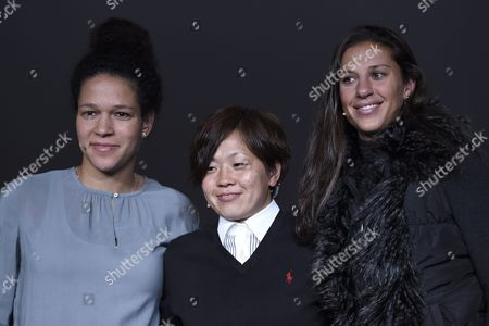 (l-r) Germany's Celia Sasic Japan's Soccer Player Aya Miyama and Us Soccer Player Carli Lloyd the Nominees For the Fifa Womens World Soccer Player of the Year 2015 Attend a Press Conference at the Fifa Ballon D'or Gala 2015 in Zurich Switzerland 11 January 2016 Switzerland Schweiz Suisse Zurich