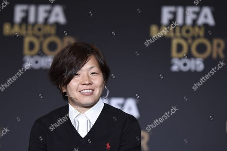 Japan's Soccer Player Aya Miyama One of the Nominees For the Fifa Womens World Soccer Player of the Year 2015 Attends a Press Conference Prior to the Fifa Ballon D'or Awarding Ceremony at the Kongresshaus in Zurich Switzerland 11 January 2016 Switzerland Schweiz Suisse Zurich