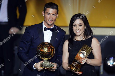 Fifa World Players of the Year 2014 Cristiano Ronaldo (l) of Portugal and Nadine Kessler (r) of Germany Pose For Photographers During the Fifa Ballon D'or 2014 Gala Held at the Kongresshaus in Zurich Switzerland 12 January 2015 Switzerland Schweiz Suisse Zurich