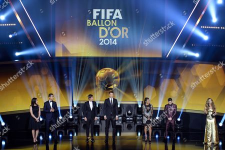 The Nominees (l-r) Nadine Kessler of Germany Cristiano Ronaldo of Portugal Abby Wambach of the Usa Manuel Neuer of Germany Marta of Brazil and Lionel Messi of Argentina on Stage During the Fifa Ballon D'or 2014 Gala Held at the Kongresshaus in Zurich Switzerland 12 January 2015 Switzerland Schweiz Suisse Zurich